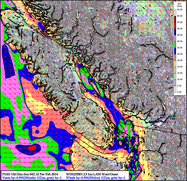 Winds modelled for 8PM PST: 40 Knot winds for Campbell River and Comox, with a strong southerly push towards Richmond as well with 40 knot winds remaining offshore. 40 knots = 75 km/hr