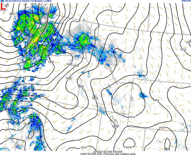 Lowest pressure is found in the upper level corner of this mesoscale surface analysis with radar reflectivity as well. Current low pressure = 982 mb approximately