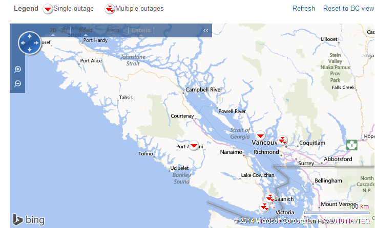 Outage map, provided by BC Hydro