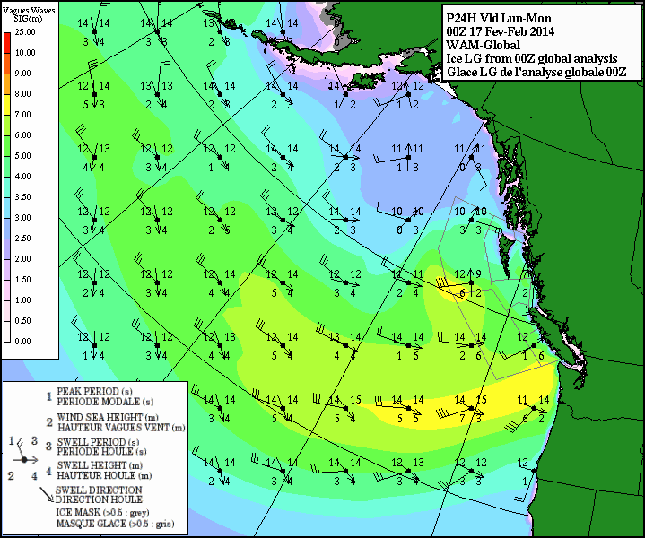 Wave heights this evening. Significant waves over 7 metres along the Washington Coast. Surfing in Tofino, anyone?