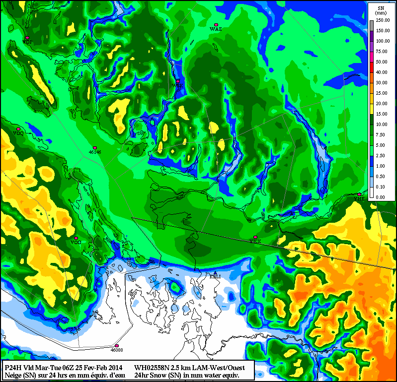 24 snow total through until late Monday night by the high resolution Canadian