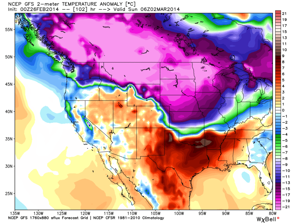 Epic, Epic temperature departures from normal...That bright pink is over 20C below normal