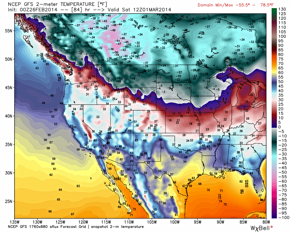 If you look carefully enough, it becomes obvious the Rocky Mountains are holding back the worst of the cold, and only allowing the (modified) Arctic air to seep into BC. Yeah, there's a couple -50F showing up in Alberta.