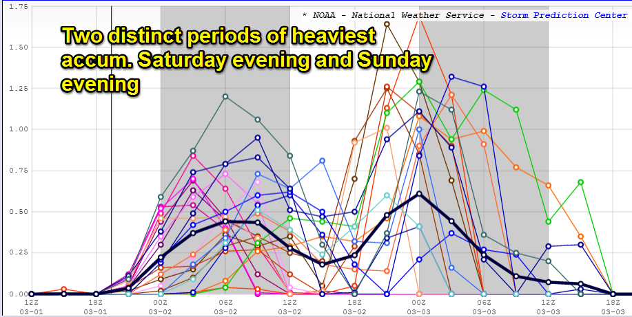 Note how wildly uncertain some of the SREF models are for 3 hourly snowfall accumulation. Sunday has the potential to be more of a high impact event than tonight
