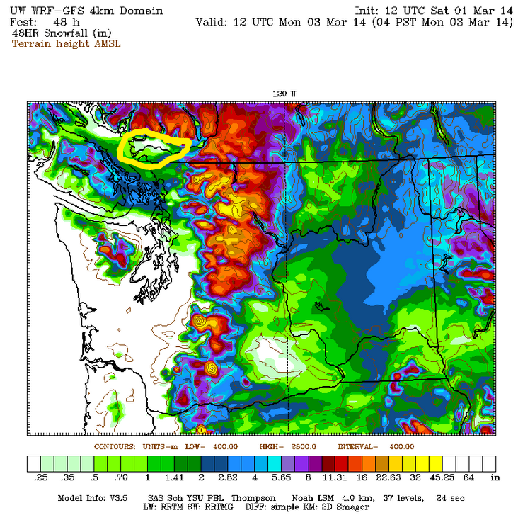 48 hour snowfall map for the South Coast (units in inches). The big donut whole is back right over the Lower Mainland..