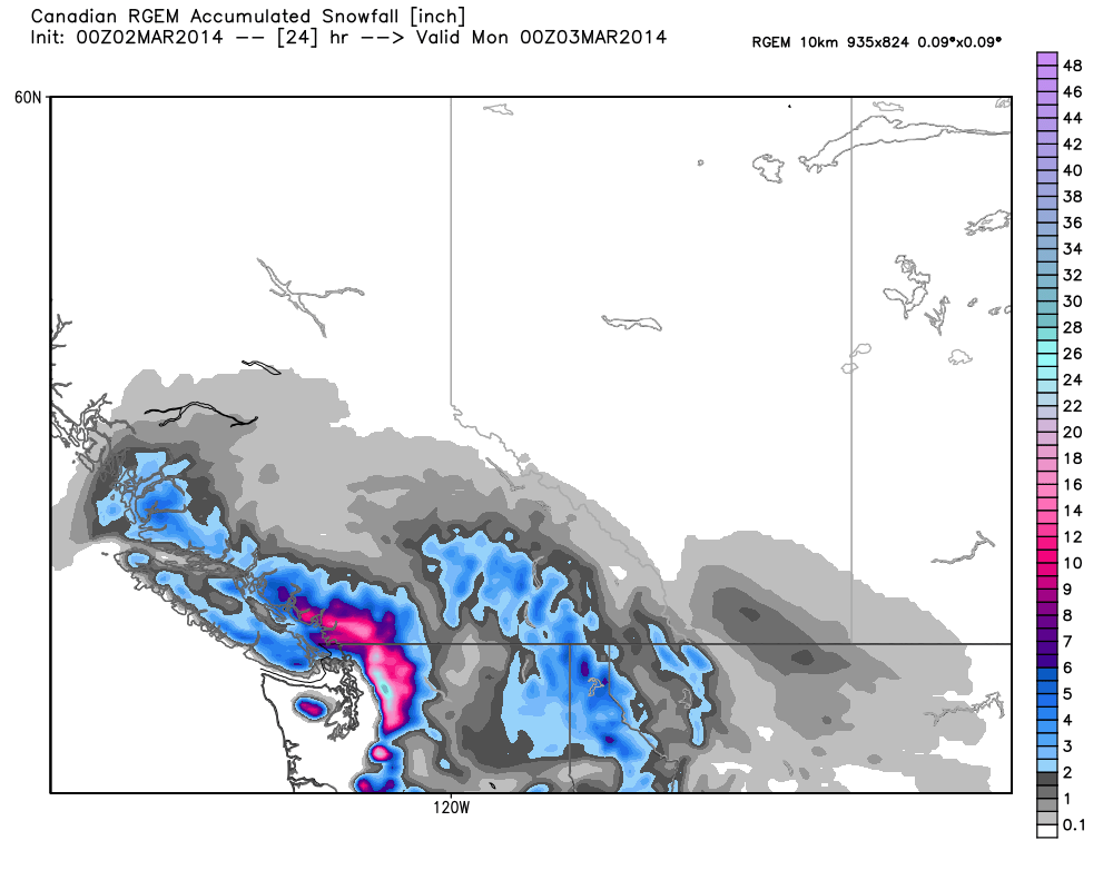 Hot off the press! Latest RGEM is still leading the way with heavy snow amounts (probably overdone!). The CDN models performed fairly well last weekend, so I'm putting a little more faith in them as of late. Accumulation shown in inches