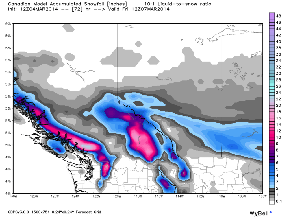 Campbell River, don't be overly surprised if you see a few wet cm's Wednesday morning, before the system changes to rain... There, you've been warned. Note the healthy snows forecasted for the Whistler region.