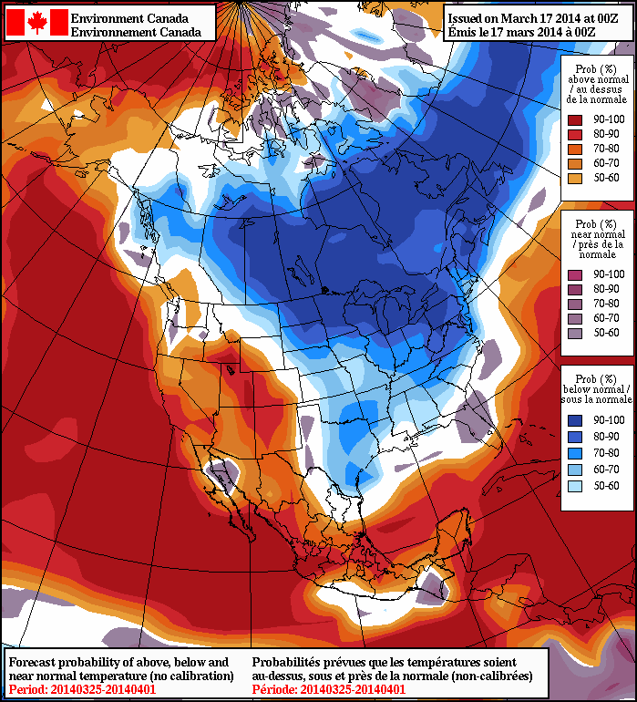 NAEFS forecast probabilities of temperatures above/below normal for the last week in March. Ontario has a 90%+ off seeing below normal temperatures