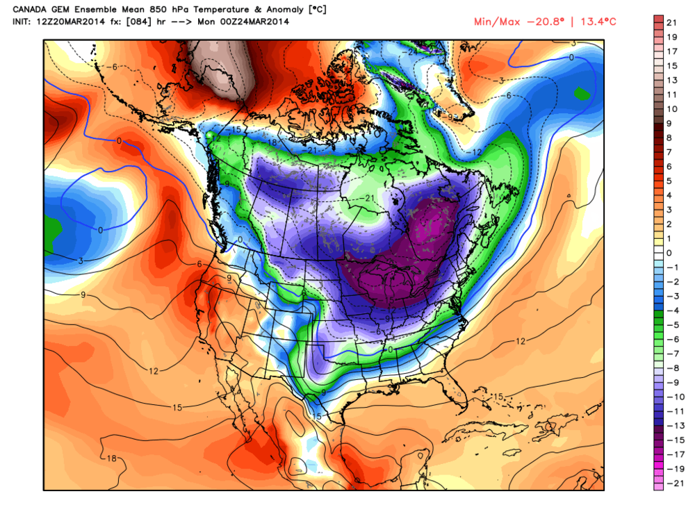 There is some possibility that Great Lakes ice intent may once again begin to increase as we head into April. 850hpa temperatures up to 20C below normal for the end of March. Yikes!