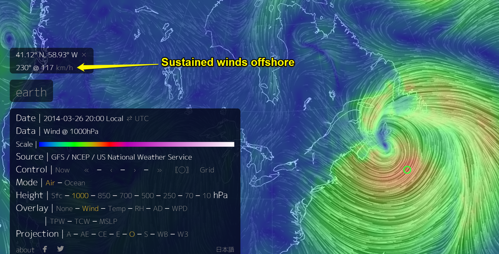Earth Wind Map: Animation link here Just another storm? 1000hpa wind speed forecast for Wednesday afternoon, with sustained category 1 hurricane winds off Nova Scotia