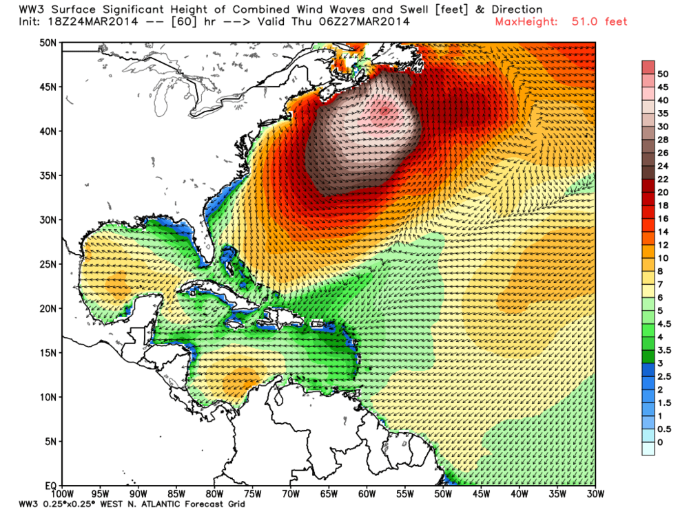 Wave Watch 3 Model 18Z, image by Weather Bell
