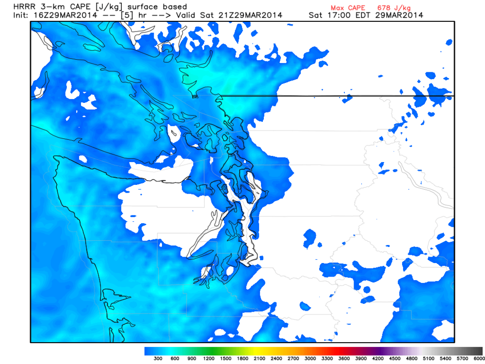 Surface based CAPE over YVR up to 500 J/KG, fairly significant for coastal sections of BC