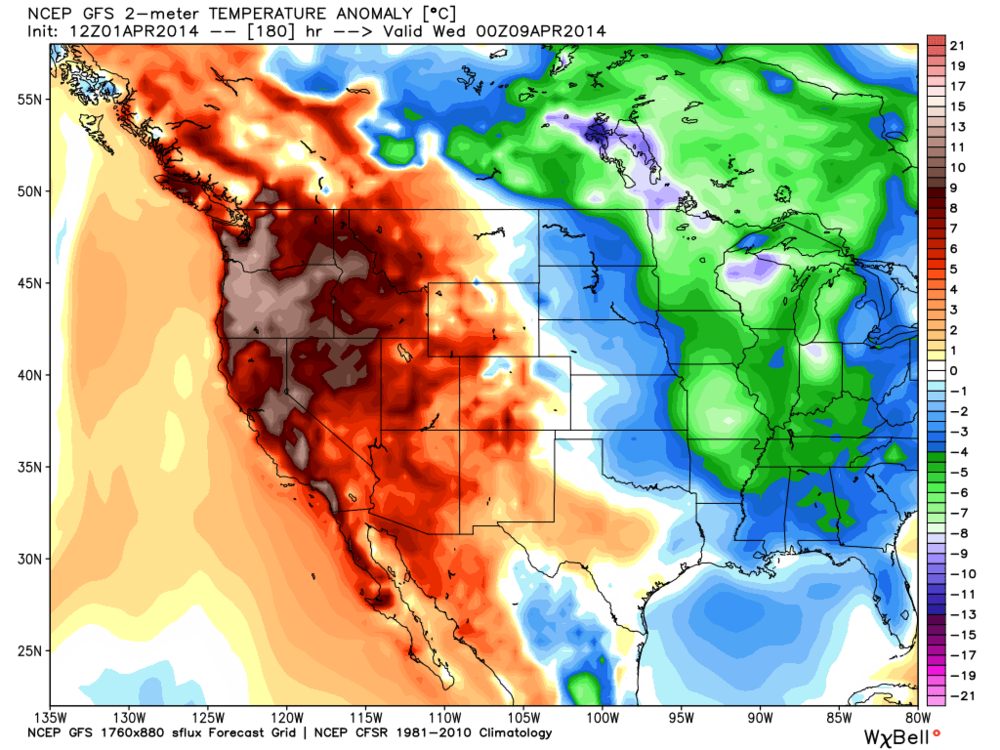 Latest GFS Surface temp anomaly for nexr Tuesday...
