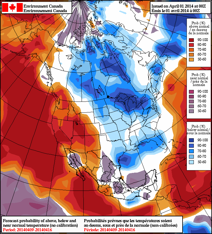 NAEFS Ensembles give up to a 90% chance of above normal temperatures for southern BC