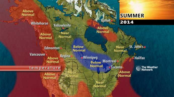 Long range summer temperature forecast, TWN
