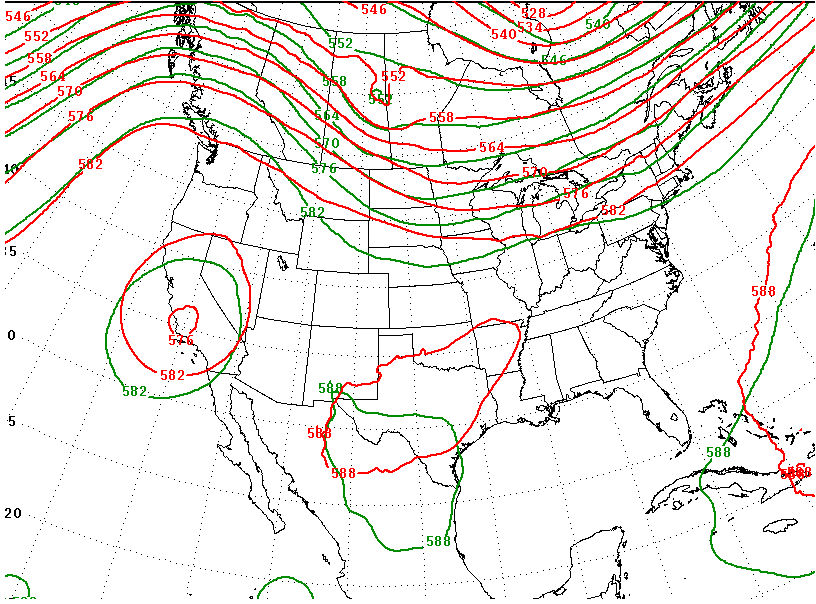 Green: GFS Red: Nam showing 500MB heights forecasted for Saturday. Note the obvious ridging over southern BC