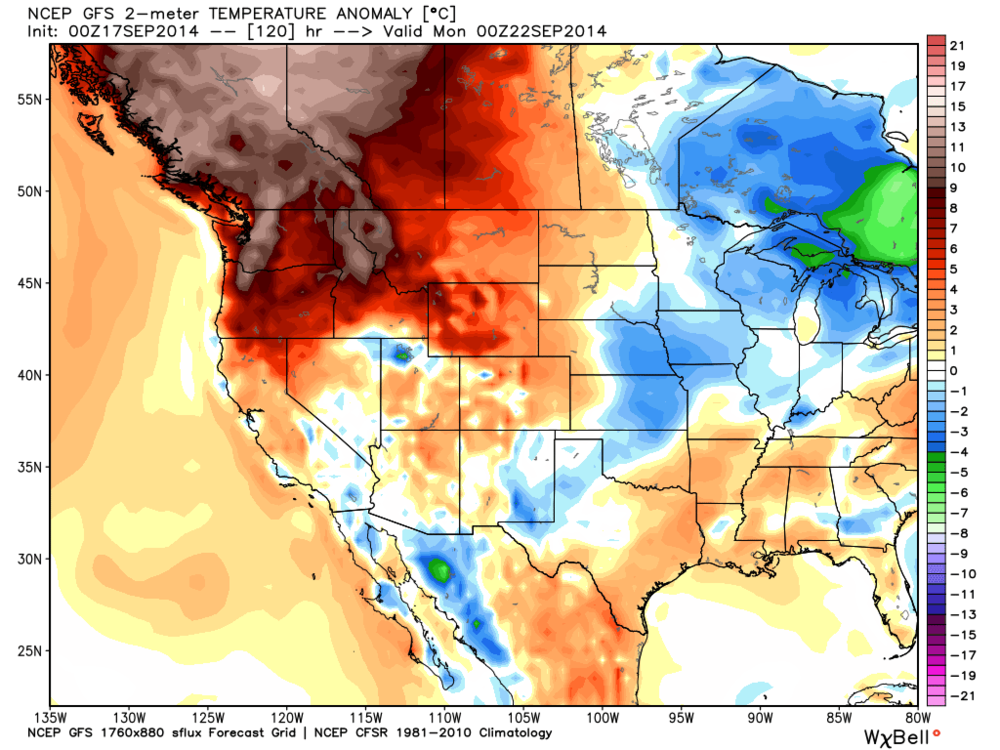 GFS temperature anomaly map for Sunday evening. Certain regions in BC and AB will be 10-13C above climate normals