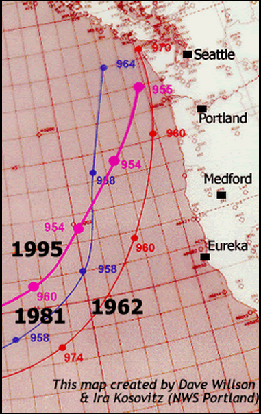 Noteworthy storm tracks that have impacted the Pacific Northwest. Note the pressures, some equivalent to category 3 hurricanes. The November 1981 storm recorded pressures sub 960. Take that, Nor'easters