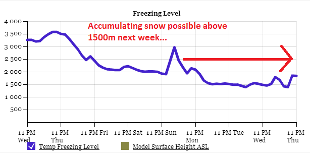 The freezing level going to be significantly lower next week, bringing heavy wet snow to higher elevations