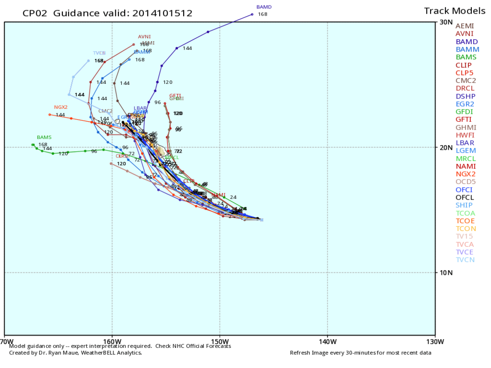 Numerous weather models indicating this storm poses a moderate threat to Hawaii.