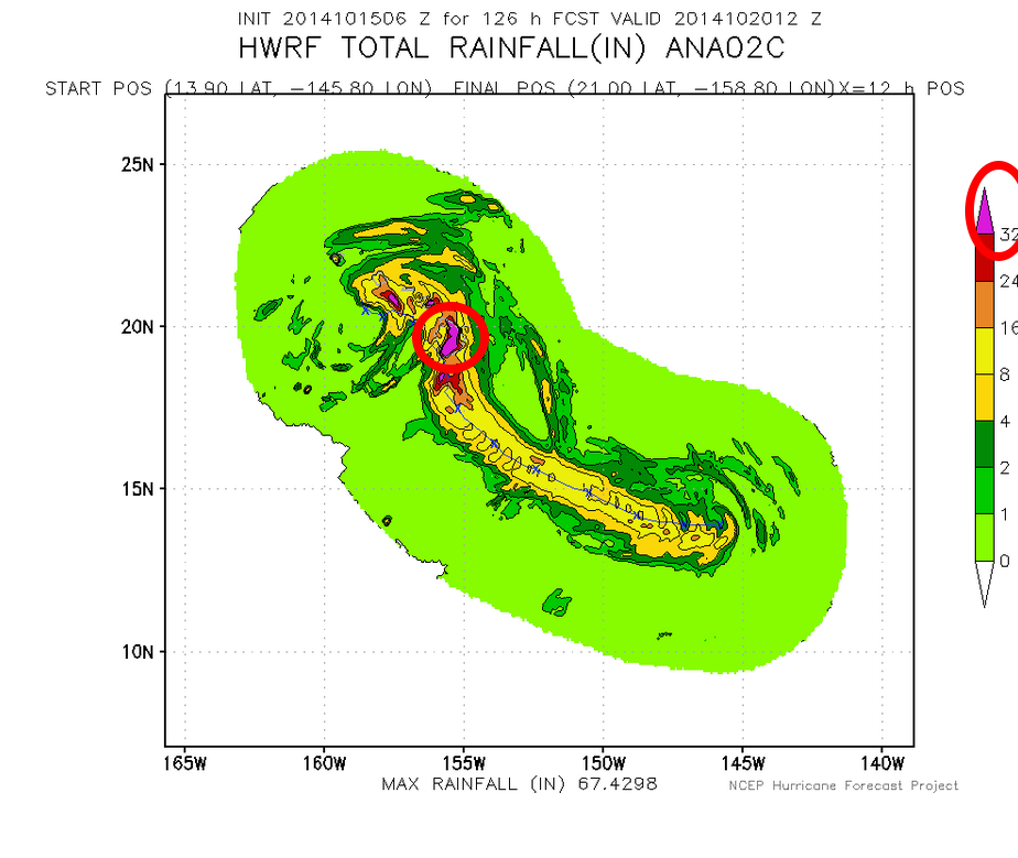 Hurricane rain model, indicating extremely torrential rains for portions of the Hawaiian island chains especially Big Island, with above model showing a casual THREE FEET (90 cm +) of rain. Observed amounts will likely be less.