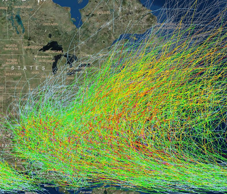 Figure 3: Atlantic Basin Historical Tracks. Can you spot Florida?