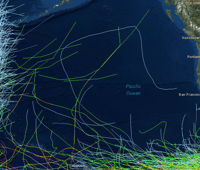 Figure 2: Central Pacific Basin Historical tracks. There's no excellent analog for Tropical Storm Ana, which has traveled south of Hawaii as a hurricane and now is in the process of travelling due north, west of Hawaii.