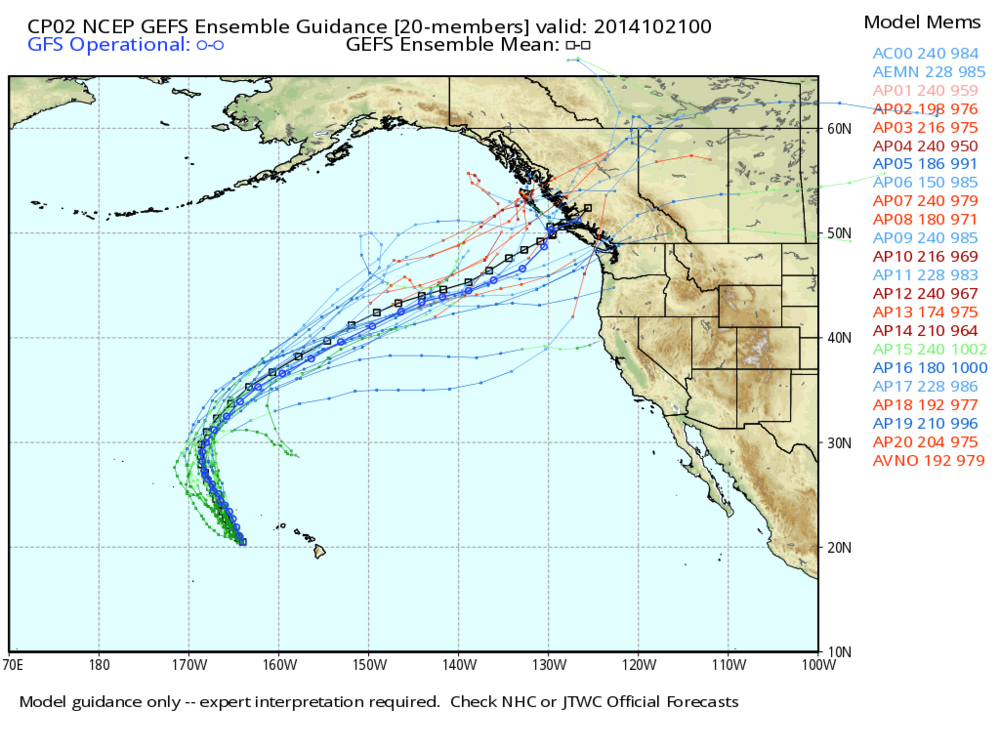 Figure 5: GEFS Ensemble Guidance for ANA. GEFS Ensemble mean in Black, while GFS operational in Bue
