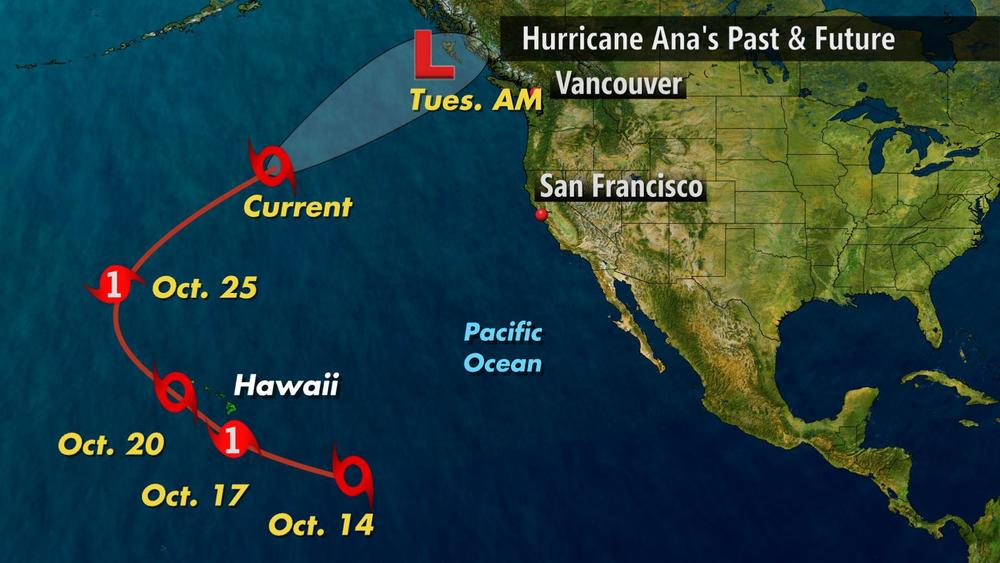 Past, Present, and future track of Ana.