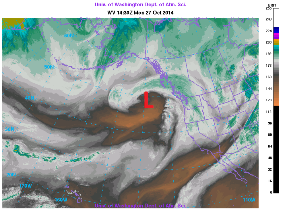 Current location of the Pacific low (7:30 AM PDT) with the warm front impacting the coast this afternoon/evening