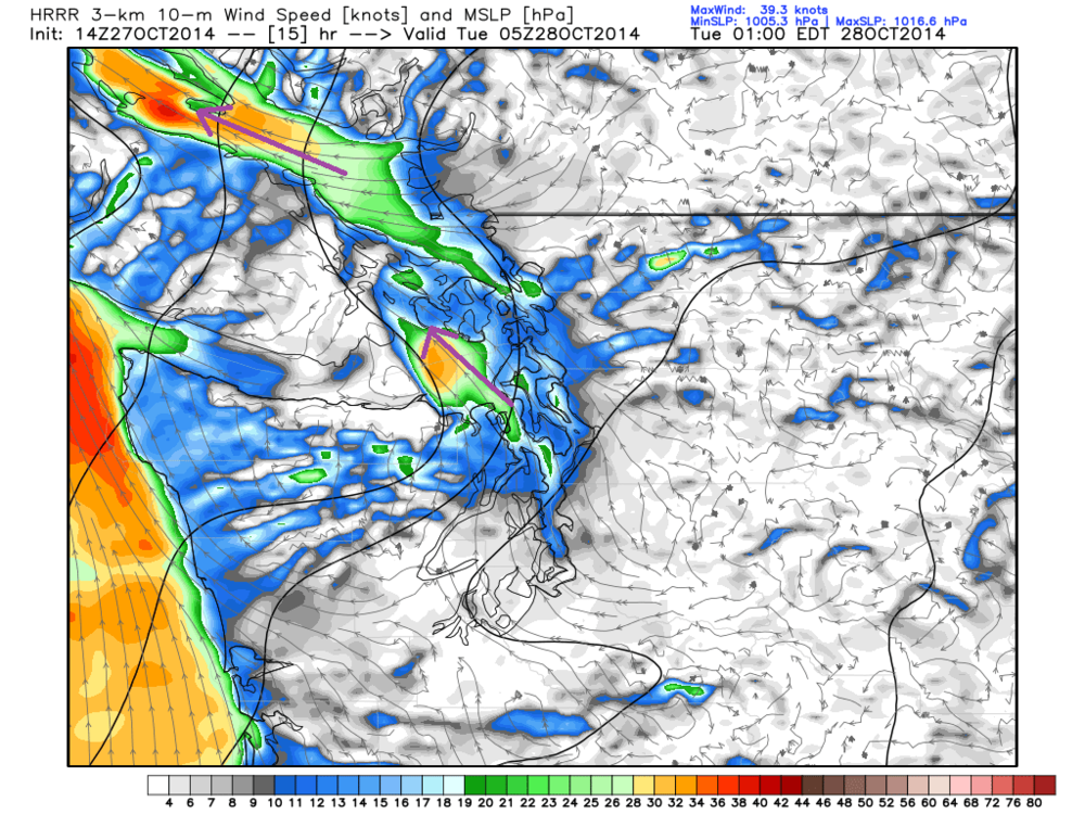Wind speed in knots for 10 PM PDT, close to peak wind values for the system