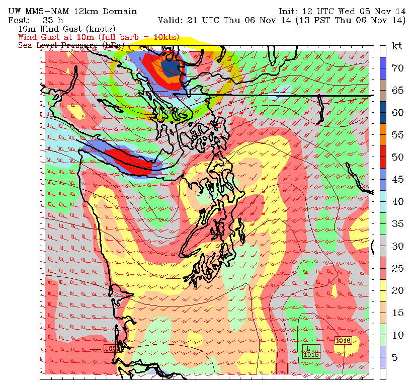 Model simulation for Thursday afternoon, showing gusty westerly winds developing as low crosses Vancouver Island