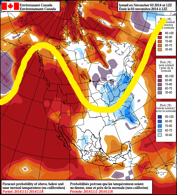 Very high probability B.C will experience above seasonal temperatures, along with portions of the Maritimes. Ontario, not so much...