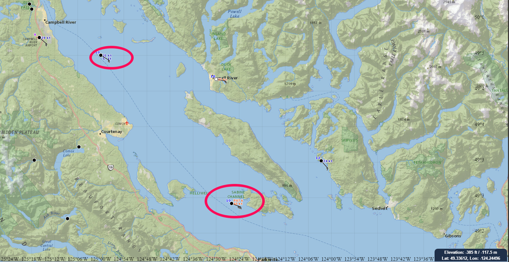 gusts up to 90km/hr already being reported in Georgia Strait (Sister's Island)