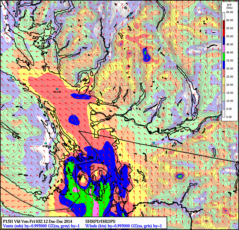Snapshot of the possible winds this evening, Victoria ( 7-9 pm local time) as low makes landfall over NW Washington state