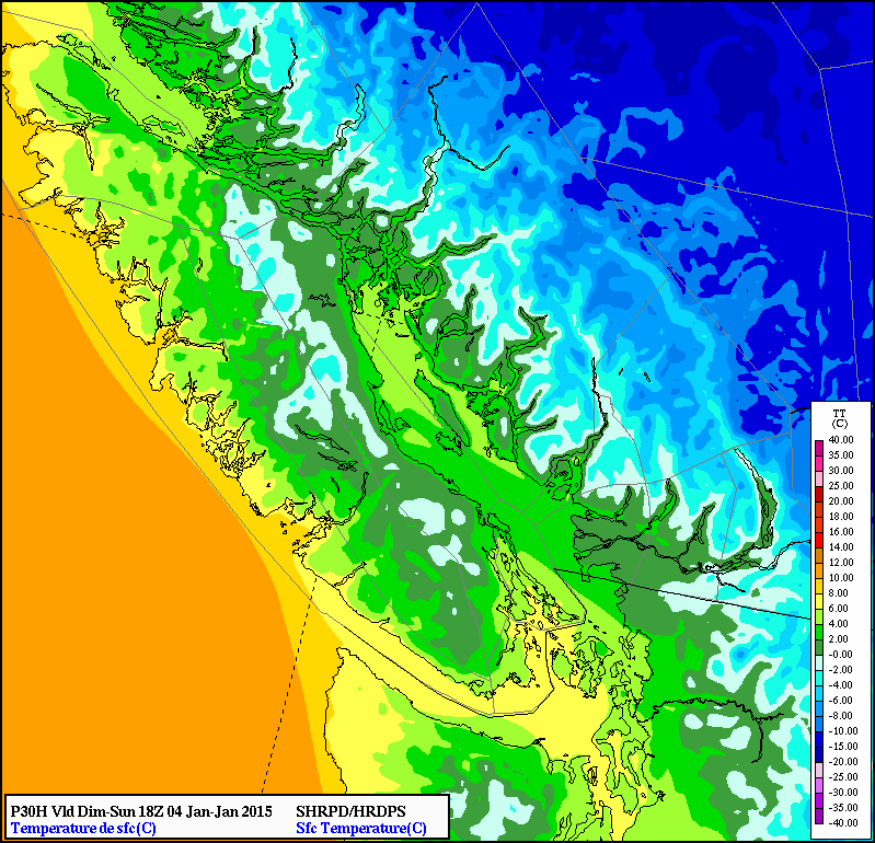 Temperature projections by late Sunday morning still support snow for portions of the Lower Mainland (0-2C), but regions along eastern Vancouver Island have likely switched over to rain; snow continues inland