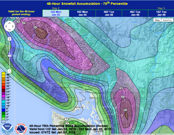 This could be an ideal upper range for snowfall amounts for portions of the South Coast, to account for a little bit of uncertainty. Take a look at the vast amounts of snow forecast for the interior of B.C!