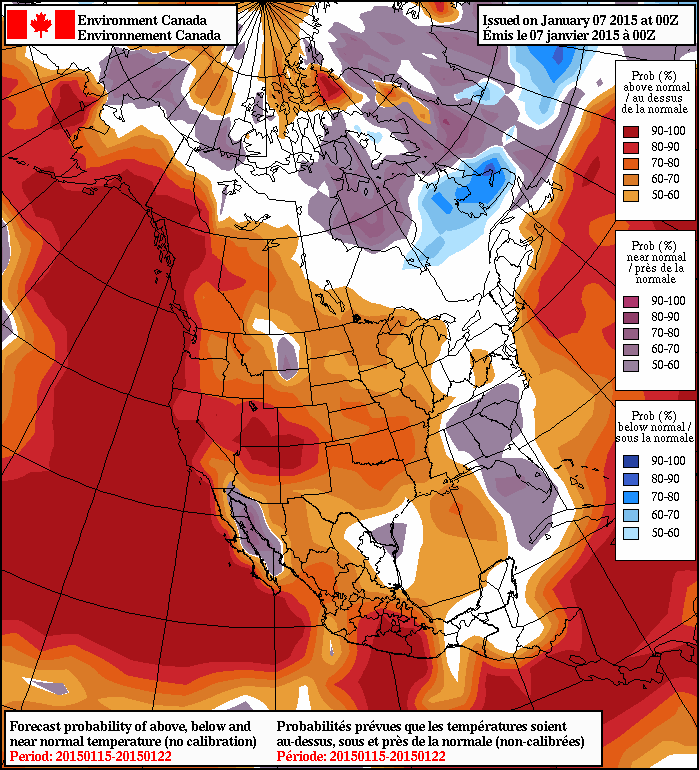 Long Range (Day 7-14) includes a very strong signal for above normal temperatures for coastal B.C