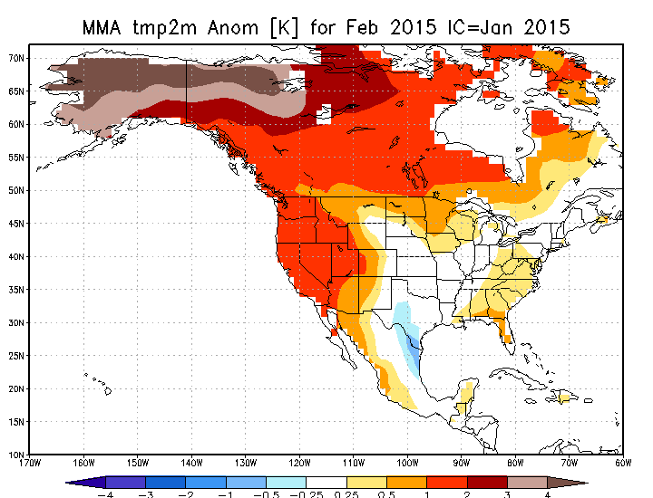 Multi-model ensemble hinting at above normal temperatures for a large portion of Western Canada