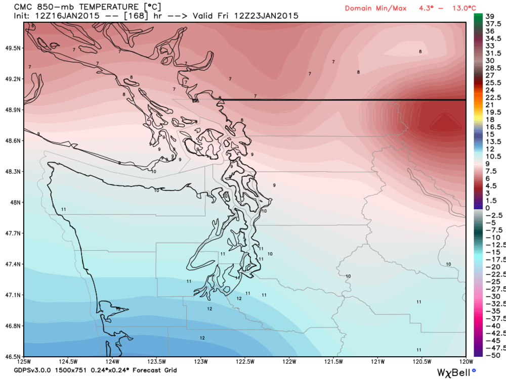 Temperatures above, give a simulation of alpine temperatures (1500 metres) late next week (with temperatures further south towards Puget Sound approaching double digit warmth). Canadian model output