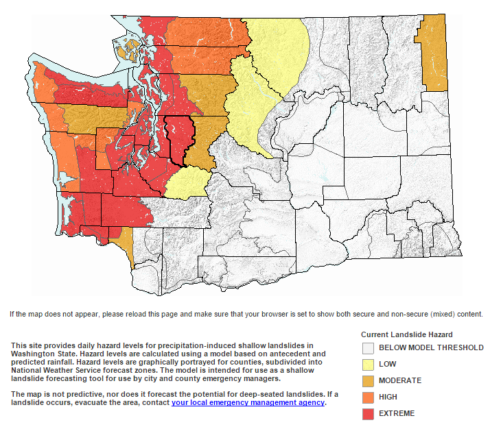 Beta Product by the State of Washington, showing widespread risk of landslides for Puget Sound & parts of the Pacific Northwest. Red = Extreme Risk