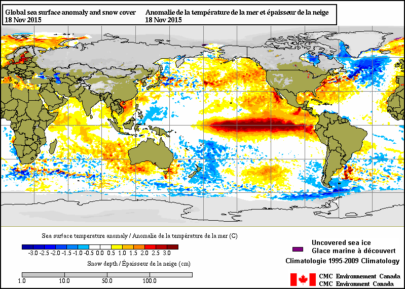 "Couple areas of focus: the warm waters in the equatorial region show a major El Niño, with the warmest waters off the coast of South America. 'The Blob"" is looking much less defined due to some recent troughing which allowed some of the stagnant, warmer waters to disperse and mix — a minor warm anomaly remains"