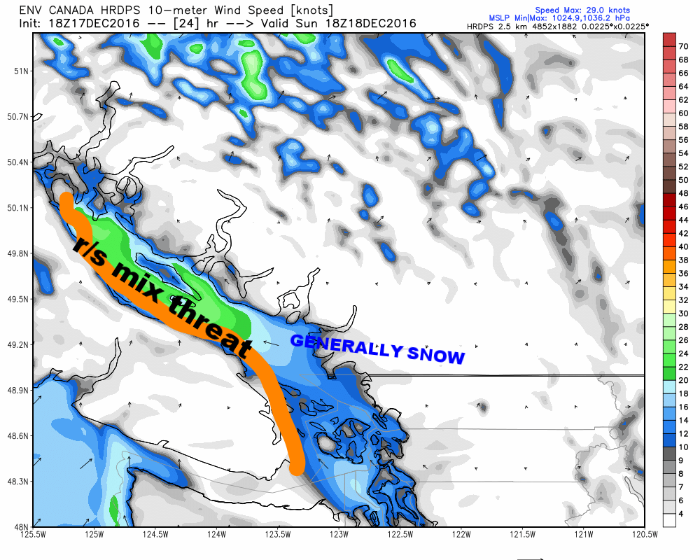 Snow lovers, the southerly wind is not your friend, I assure you. But, you won't have to get much elevation on eastern sections of Vancouver Island to get some significant accumulations...