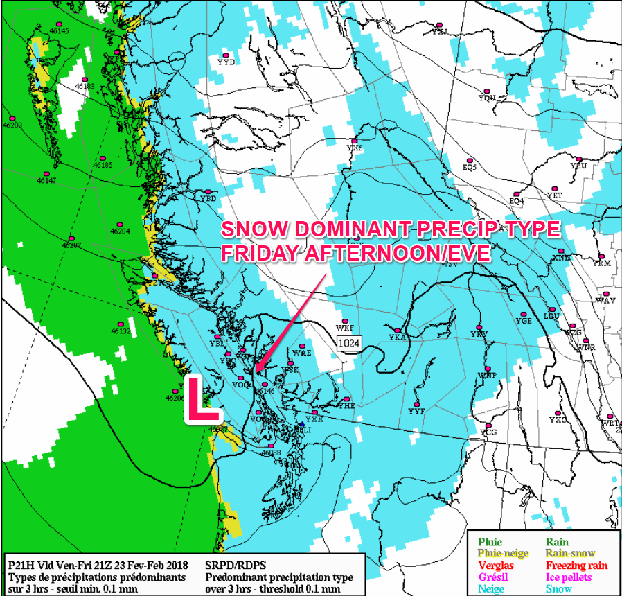Canadian Model, highlighting the weak trough offshore, and showing all regions likely starting as snow, before a wintry mix and rain develops for southern Vancouver Island and areas immediately beside Georgia Strait