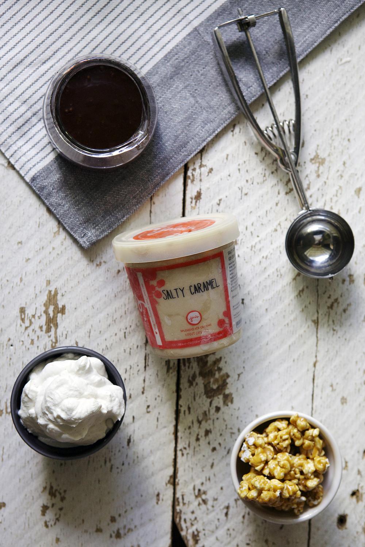 Salted Caramel Popcorn Crunch Sundaes // Glazed & Confused
