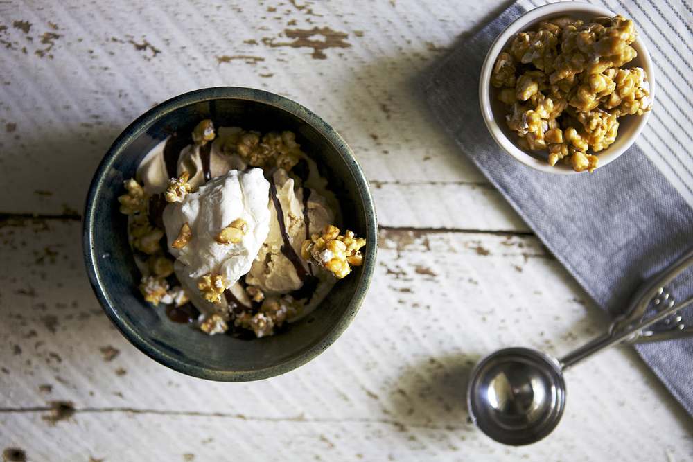 Salted Caramel Popcorn Crunch Sundaes // Glazed & Confused