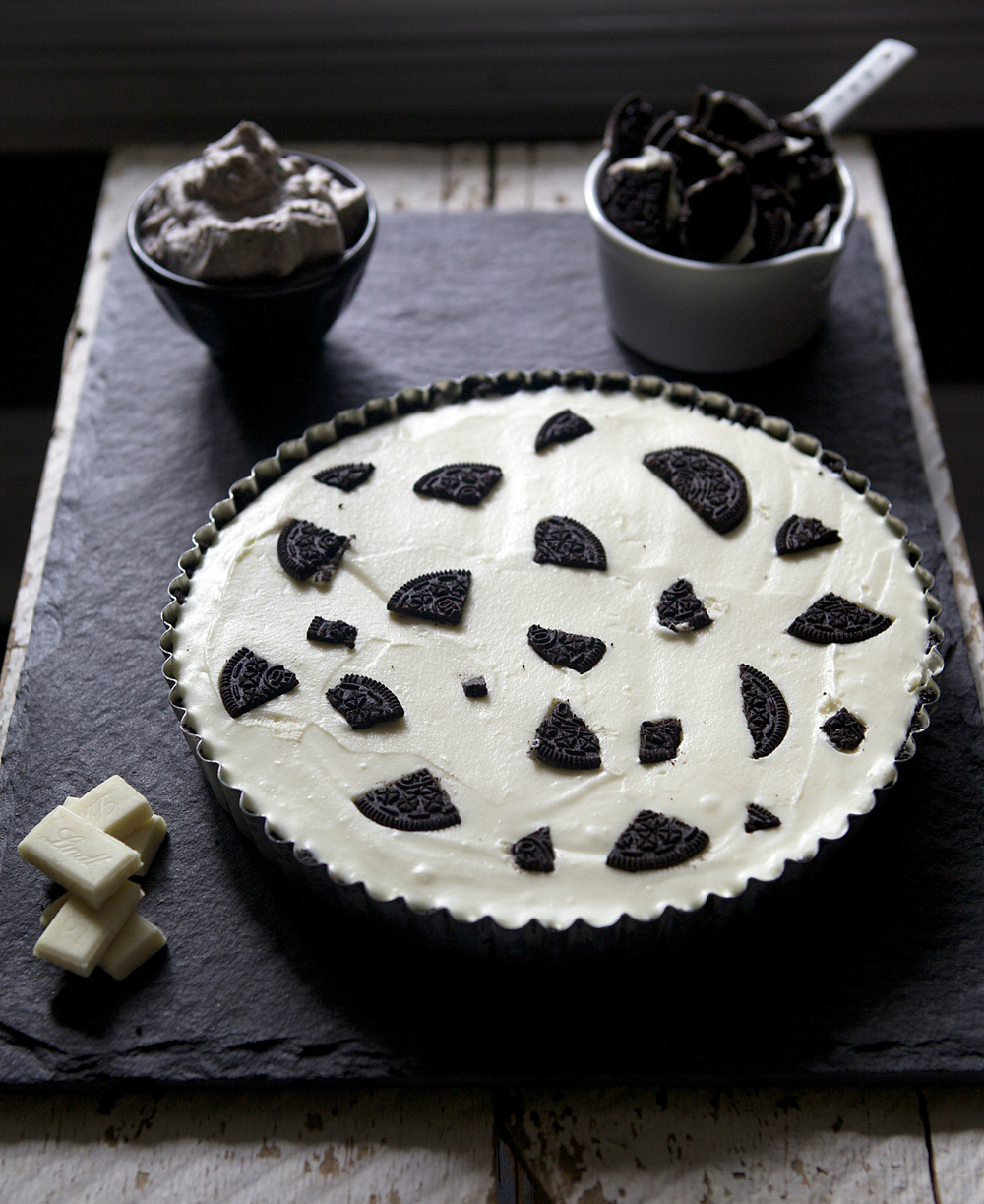 White Chocolate Mascarpone Oreo Tart with Oreo Whipped Cream // Glazed & Confused