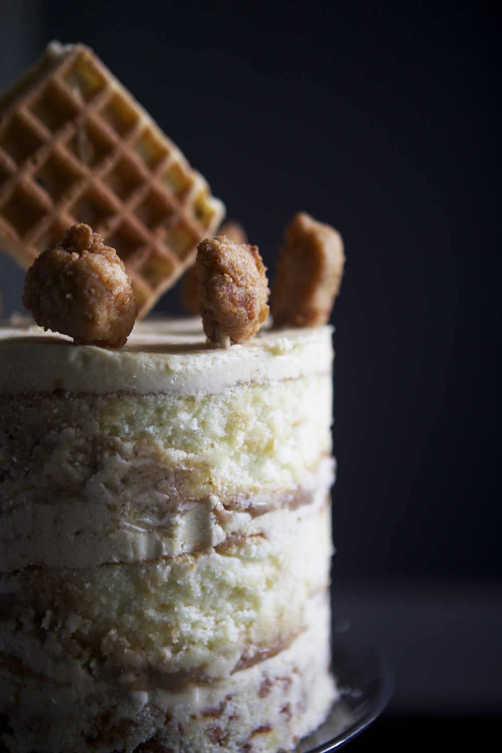 Chicken & Waffles Cake — yellow buttermilk cake, maple frosting, spicy sage caramel // Glazed & Confused