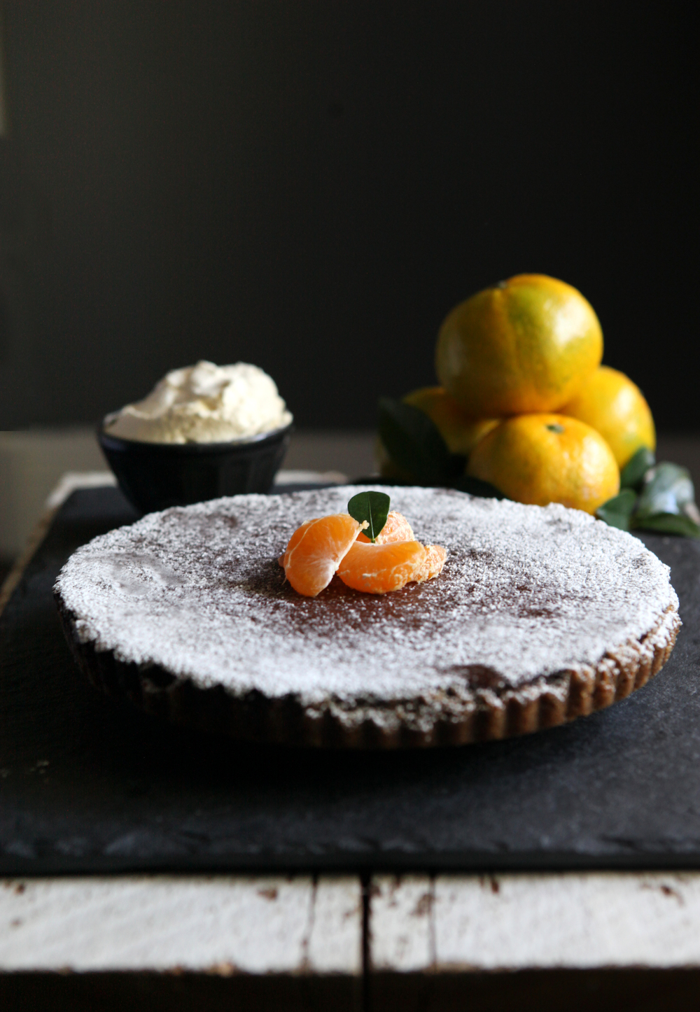 Dark Chocolate Satsuma Tart with Gingersnap Crust // Glazed & Confused