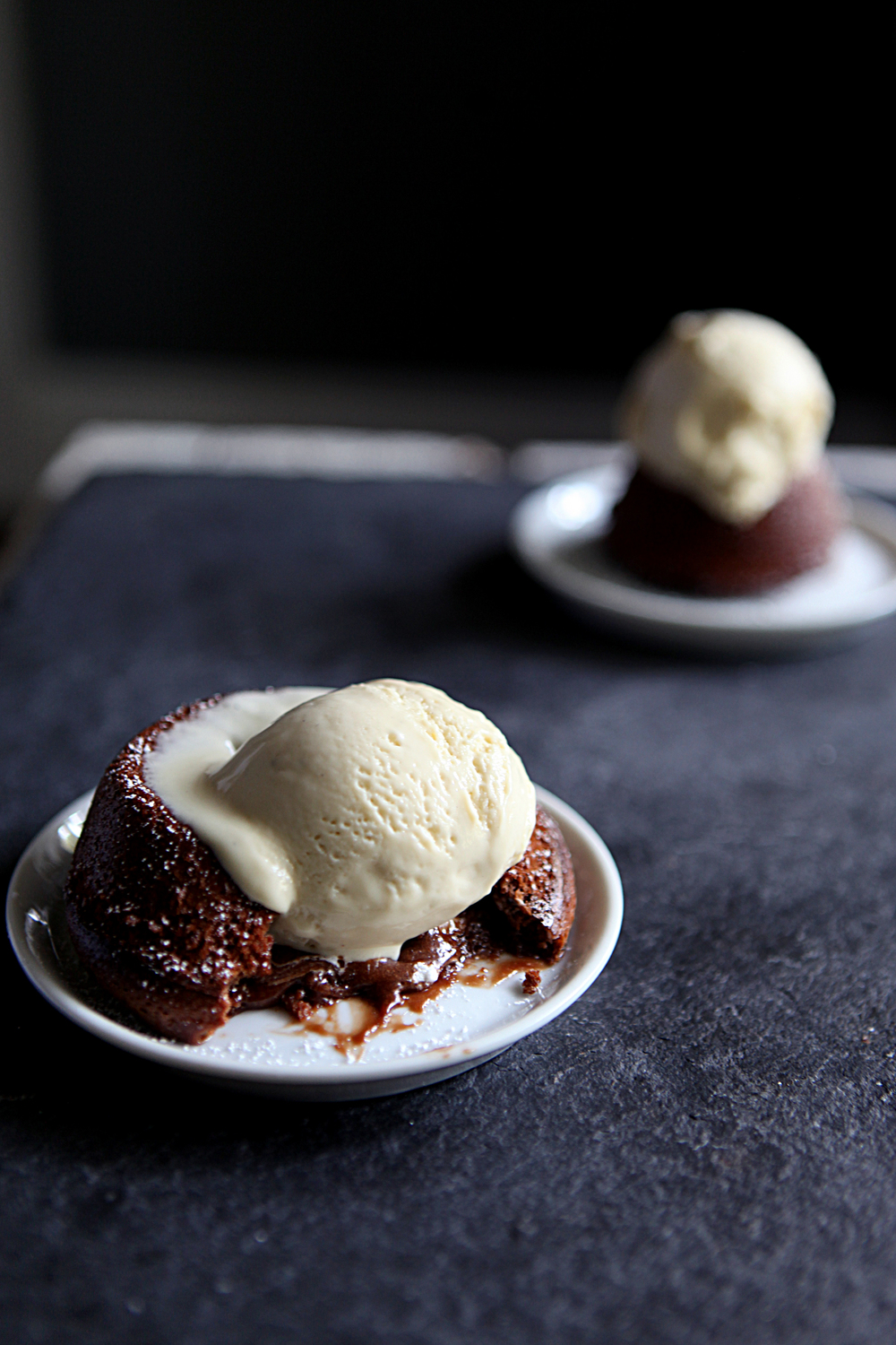 hot cocoa molten lava cakes with toasted marshmallow ice cream // Glazed & Confused